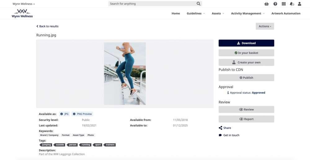 Adgistics DAM Brand Hub Asset Details
